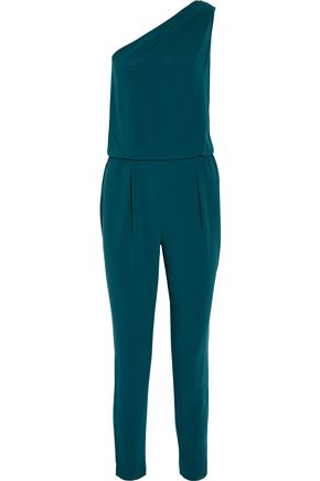 HALSTON HERITAGE One-shoulder crepe jumpsuit