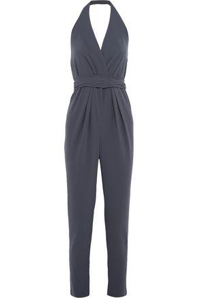 HALSTON HERITAGE Wrap-effect crepe halterneck jumpsuit