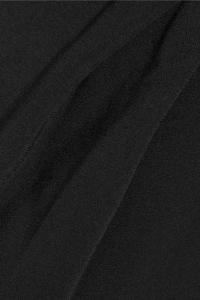 HALSTON HERITAGE Crepe wrap-effect halterneck jumpsuit