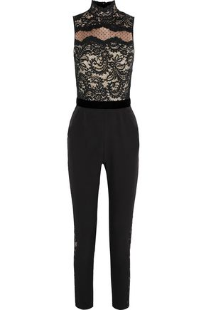 PERSEVERANCE Swiss-dot tulle and guipure lace-paneled crepe jumpsuit