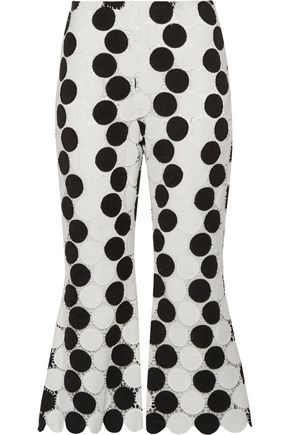 PAPER London Cropped polka-dot guipure lace flared pants