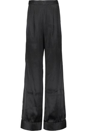 REBECCA VALLANCE Mortimer pleated polka-dot silk wide-leg pants