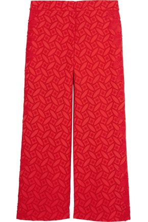 SACHIN & BABI Claudette cropped broderie anglaise cotton wide-leg pants