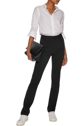NORMA KAMALI Pinstriped knitted straight-leg pants