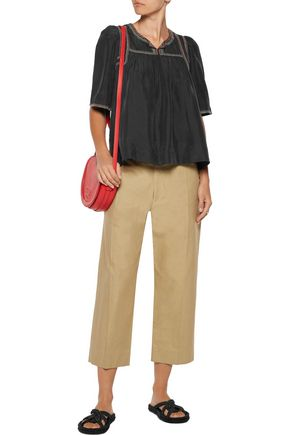 ISABEL MARANT Hera belted cotton and linen-blend wide-leg pants