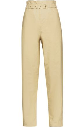 ISABEL MARANT Nesto belted cotton-poplin straight-leg pants