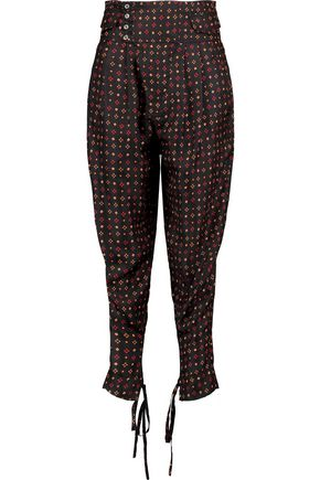 ISABEL MARANT Printed silk tapered pants