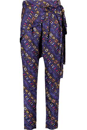 ISABEL MARANT Toma belted printed silk-twill tapered pants