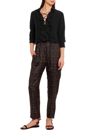 ISABEL MARANT Toya printed silk-satin tapered pants
