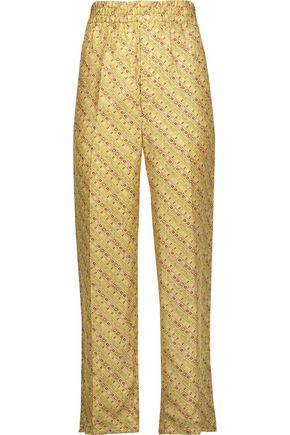 ISABEL MARANT Toya printed silk-satin tapered pants