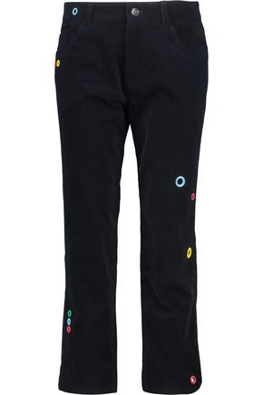 MIRA MIKATI Cropped eyelet-embellished cotton-corduroy slim-leg pants
