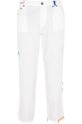 MIRA MIKATI Embroidered cotton straight-leg pants