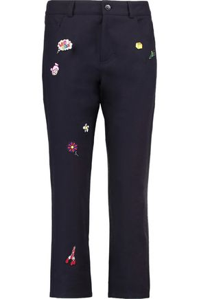MIRA MIKATI Cropped appliquéd cotton-blend twill slim-leg pants