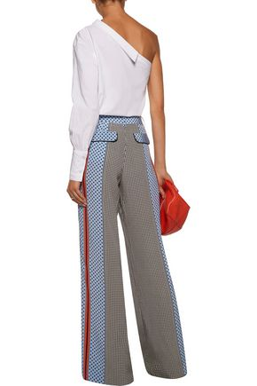 10 CROSBY DEREK LAM Printed silk-satin wide-leg pants