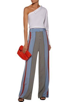 DEREK LAM 10 CROSBY Printed silk-satin wide-leg pants