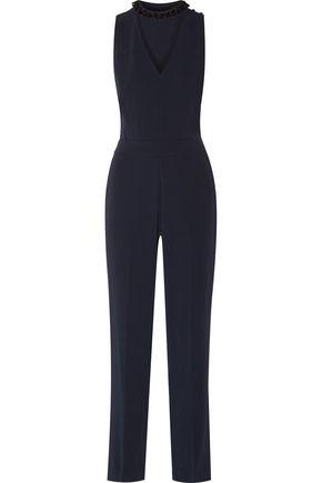 DEREK LAM 10 CROSBY Cutout bead-embellished crepe jumpsuit