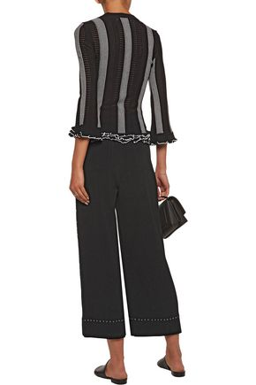 DEREK LAM 10 CROSBY Cropped eyelet-embellished crepe wide-leg pants