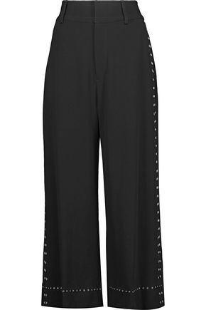 10 CROSBY DEREK LAM Cropped eyelet-embellished crepe wide-leg pants