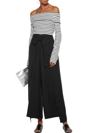 10 CROSBY DEREK LAM Belted draped crepe wide-leg pants