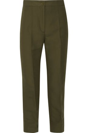 SANDRO Candice cropped cotton-blend straight-leg pants