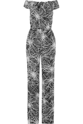 DIANE VON FURSTENBERG Off-the-shoulder printed crepe jumpsuit
