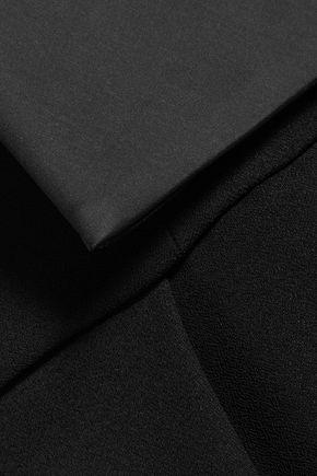 HALSTON HERITAGE Satin-trimmed crepe jumpsuit
