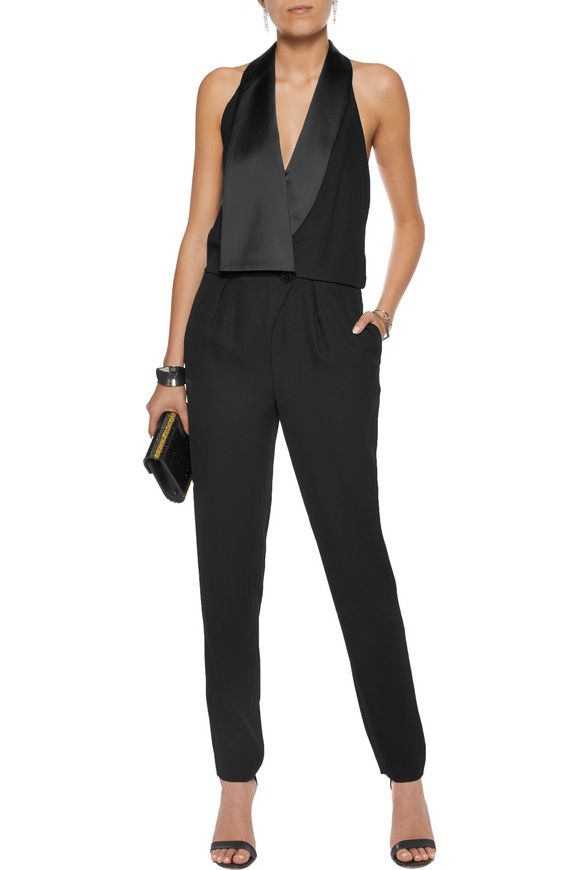Satin-trimmed crepe jumpsuit | HALSTON HERITAGE | Sale up to 70% off | THE  OUTNET