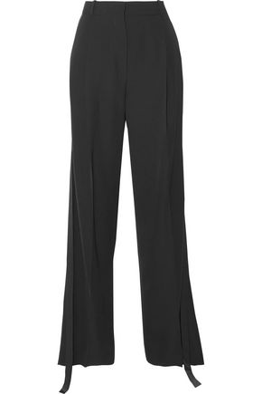 GIVENCHY Silk satin-trimmed pleated wool-crepe wide-leg pants