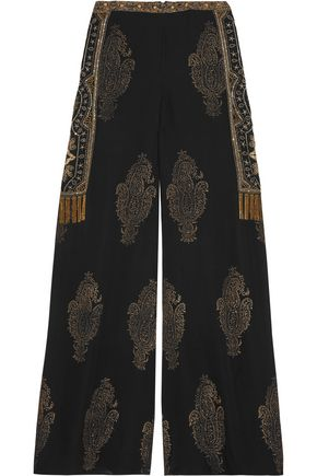 HAUTE HIPPIE Embellished silk-chiffon wide-leg pants