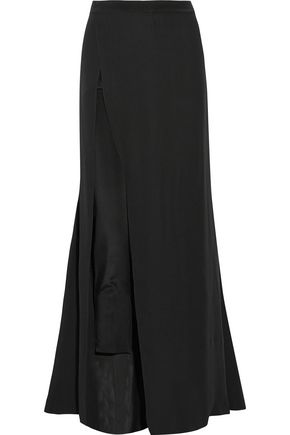 HAUTE HIPPIE Layered silk-blend crepe de chine slim-leg pants