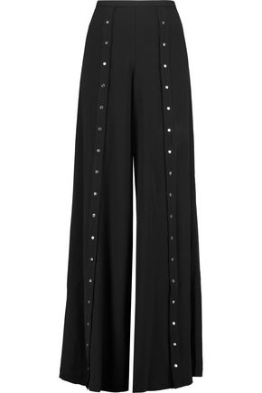HAUTE HIPPIE Button-embellished crepe wide-leg pants