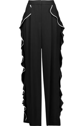 ADAM LIPPES Ruffled crepe wide-leg pants
