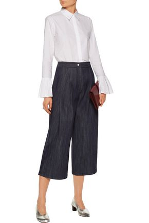 ADAM LIPPES Pleated denim culottes