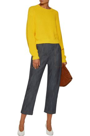 ADAM LIPPES Cropped embroidered straight-leg jeans