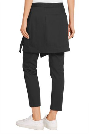 DKNY Layered cotton and wool-blend gabardine slim-leg pants