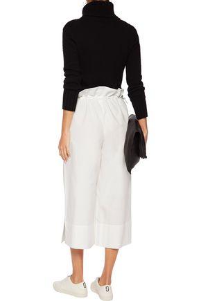 GOEN.J Drawstring cotton-blend poplin wide-leg pants