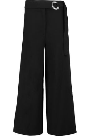 PROENZA SCHOULER Cropped belted stretch-wool wide-leg pants