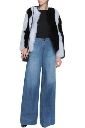 ALICE + OLIVIA Faded mid-rise wide-leg jeans