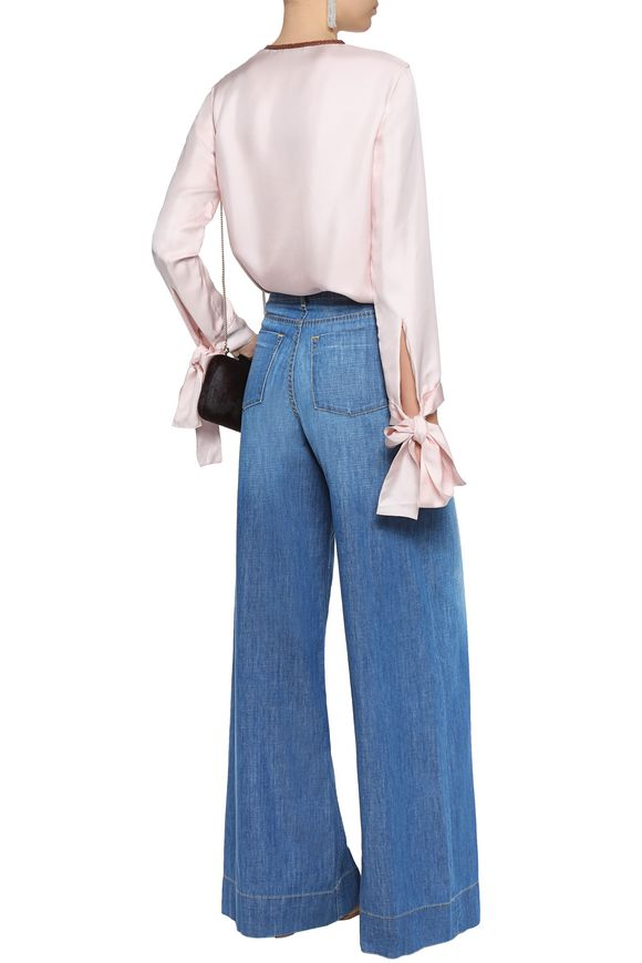 Faded mid-rise wide-leg jeans   ALICE + OLIVIA   Sale up to 70% off   THE  OUTNET