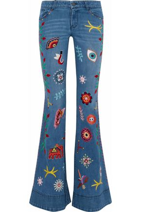 ALICE + OLIVIA Appliquéd embroidered mid-rise flared jeans