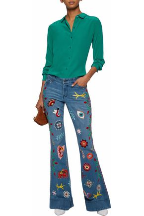 ALICE + OLIVIA Embroidered distressed low-rise flared jeans