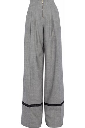 VIONNET Pleated tweed wool-blend wide leg pants