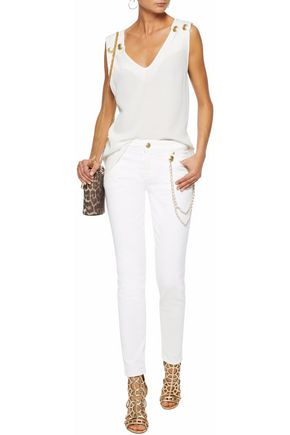 PIERRE BALMAIN Chain-embellished mid-rise skinny jeans