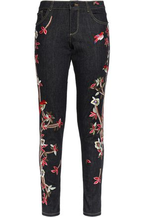 ALICE + OLIVIA Embroidered mid-rise skinny jeans