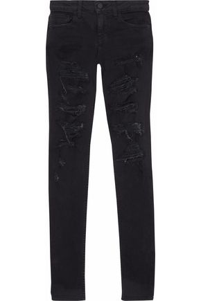 ALICE + OLIVIA Distressed mid-rise skinny jeans