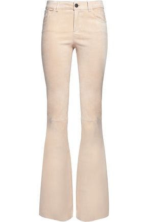 ALICE+OLIVIA Suede mid-rise bootcut pants