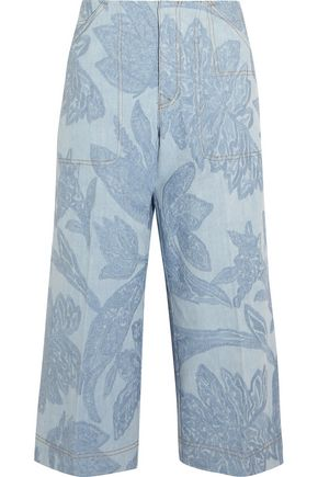 ACNE STUDIOS Texel cropped embroidered denim wide-leg pants