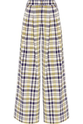 ADAM LIPPES Pleated plaid cotton wide-leg pants