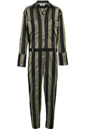 TOPSHOP UNIQUE Duvall striped satin jumpsuit