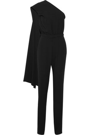 CO One-shoulder draped crepe jumpsuit